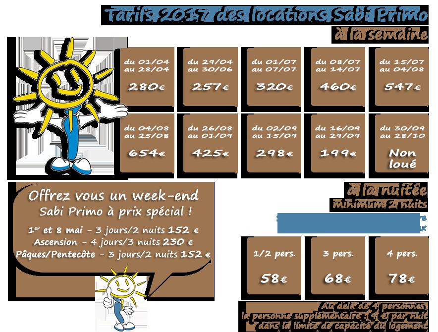 Tarifs des locations mobil home Sabi Primo